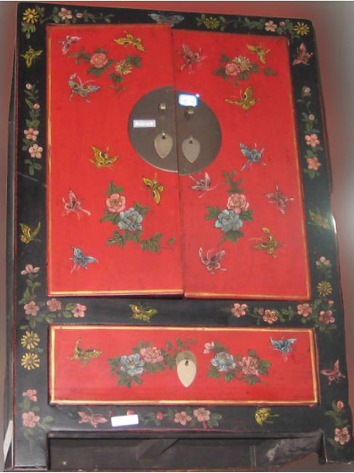 Beautifully decorated, handprinted cabinet with flowers and butterflies