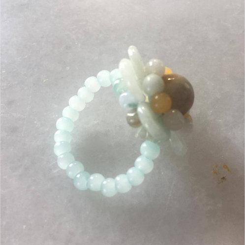 Handmade natural Jade ring in flower form (various ring sizes)