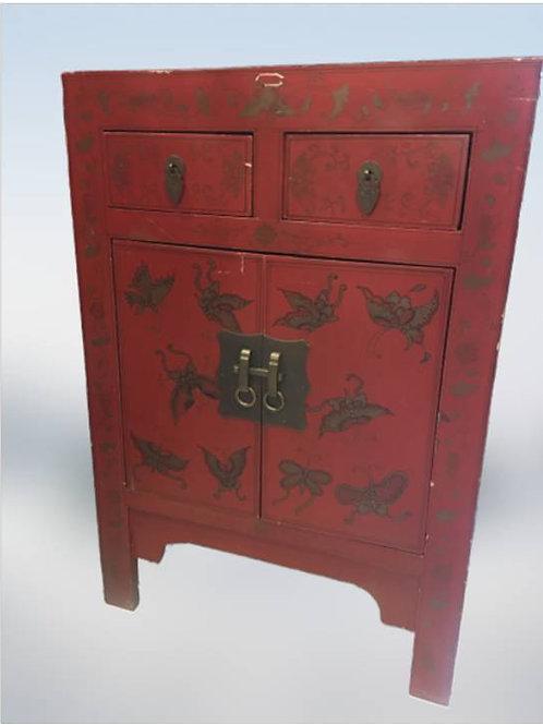 Handprinted wooden birch cabinet with butterflies