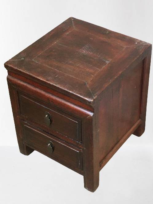 Old style bedside or corner table with two drawers