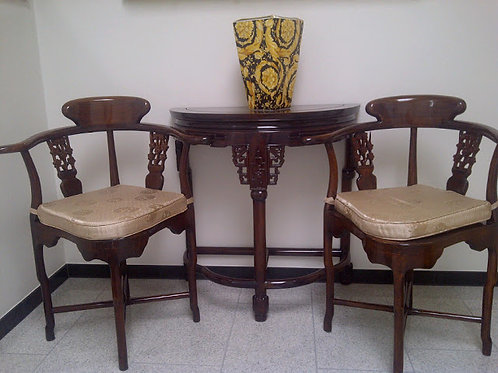 Elegant 100 year aged Rosewood Console and matching chairs