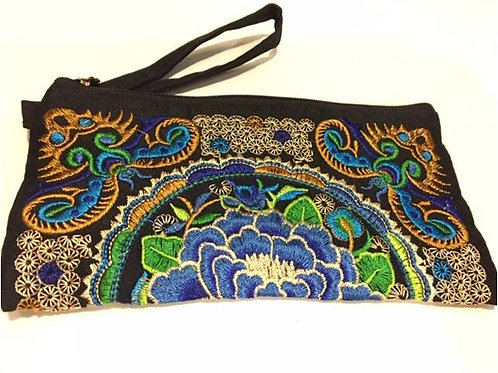 Black embroidered cotton bag adorned with blue Lotus and small flowers
