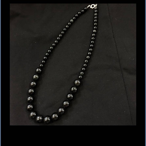 Beautiful handmade necklace of natural Obsidian beads on crystal thread