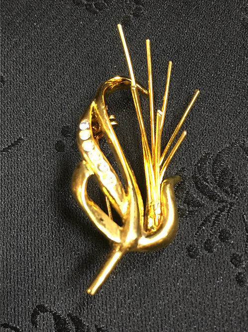 Goldplated Peacock Brooch