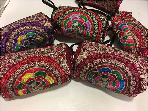 Embroidered cotton make up bag with circular pattern - various colourful designs