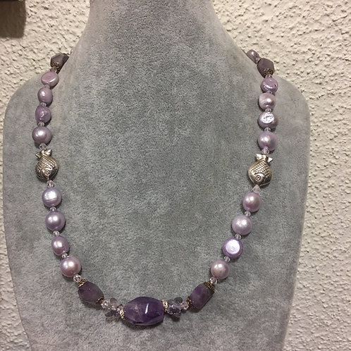 Pearl and Natural Amethyst necklace with sterling Silver (925S) fishes