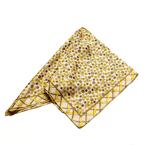 Silk scarf / pocket handkerchief - White with delicate yellow/brown flowers and