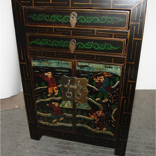 Ornate birch wood corner cabinet or bedside table