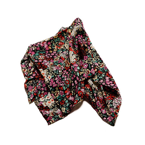 Silk scarf / pocket handkerchief - Black with vibrant flowers