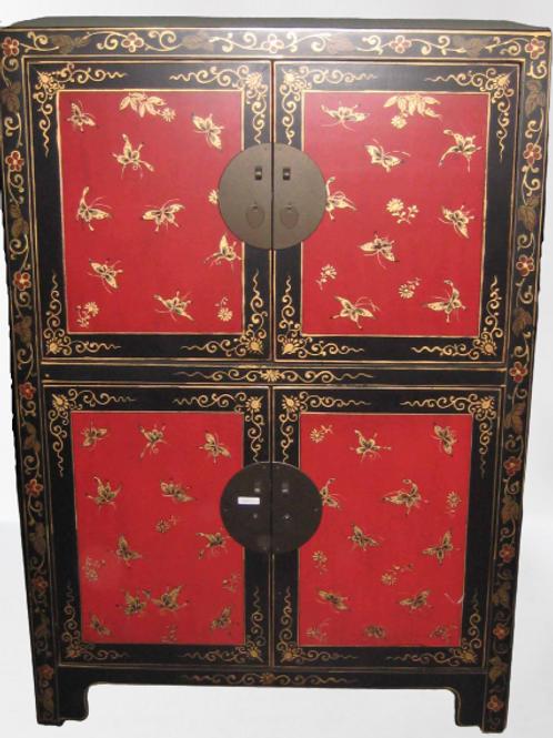 "Handprinted Wedding cabinet with four doors, handprinted  ""lucky"" butterflies"