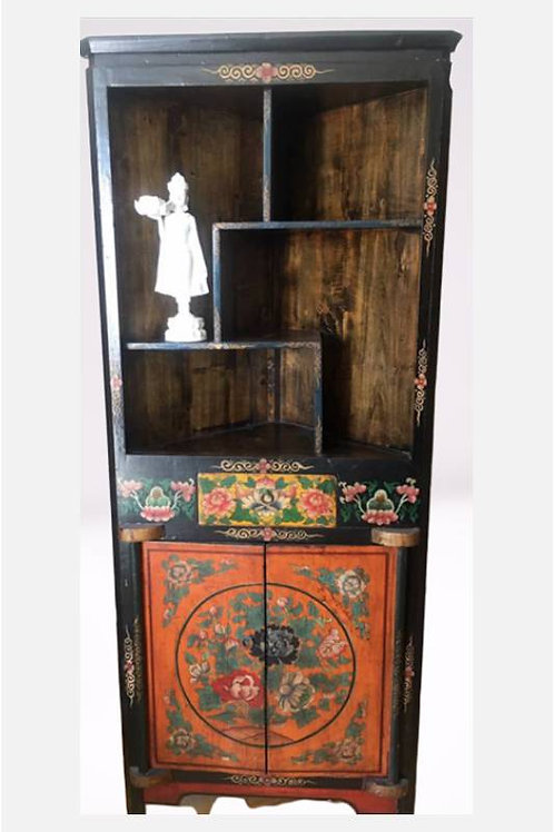 Tibetan style triangle cabinet, handprinted with spiritual flowers
