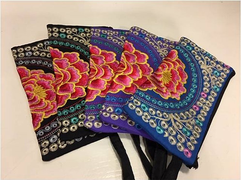 Embroidered cotton bags adorned with large Lotus and small flowers - various
