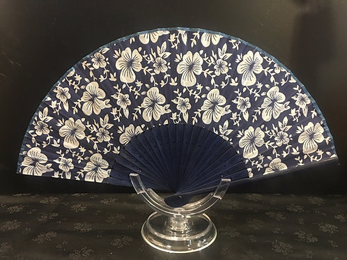 Fan - navy blue with white violets