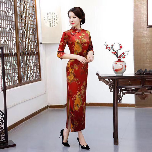 QiPao Dresses with gold peacock design