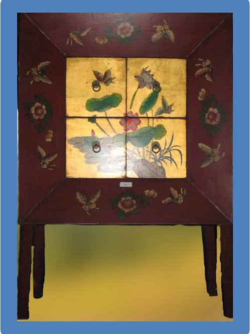 Handprinted cabinet with four drawers, spirituality, Zen