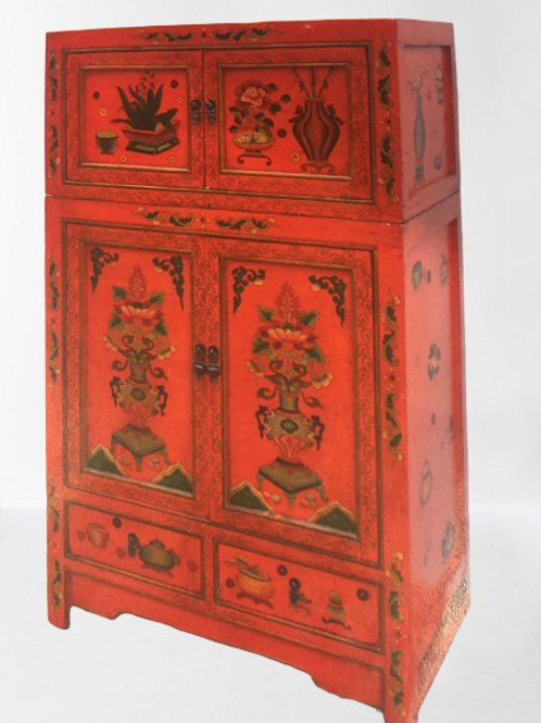 Tibetan high mountains antique, two-piece cabinet with spiritual flowers