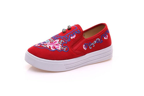 Plimsoll with rose and button design