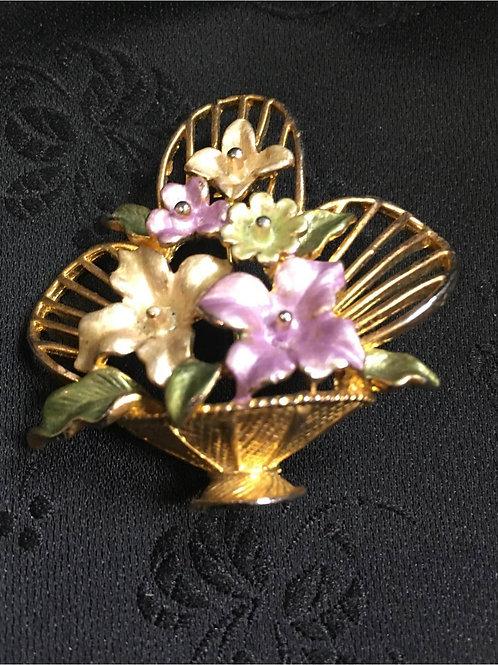 Brooch, goldplated, flower basket