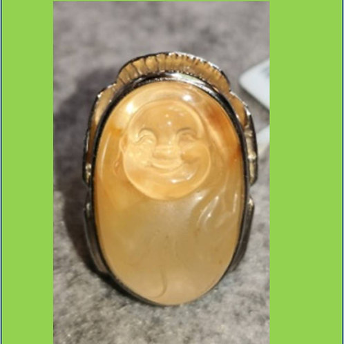 Unique handcrafted Laughing Buddha ring from yellow crystal, set in Silver