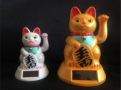 Lucky Cats, solar powered (12cm White, 17cm Gold)