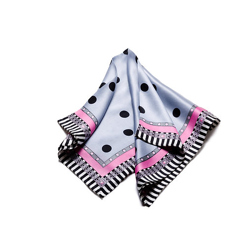 Silk scarves / pocket handkerchiefs - Delicate spots and border
