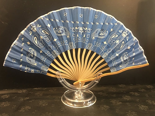 Fan - light blue with swirls