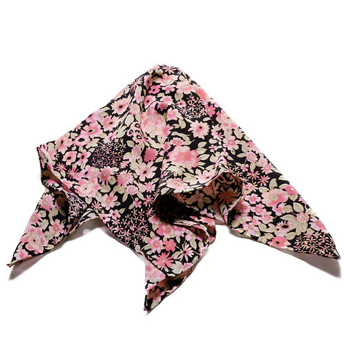 Silk scarf / pocket handkerchief - Black with delicate pale pink flowers