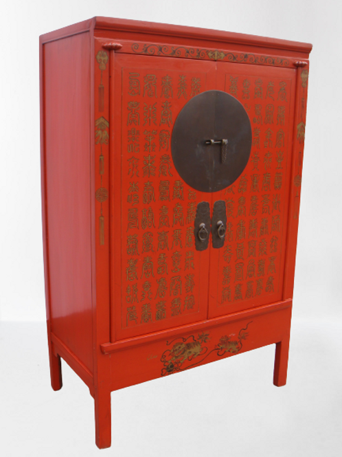 Wedding cabinet with handprinted lucky wishes and animals