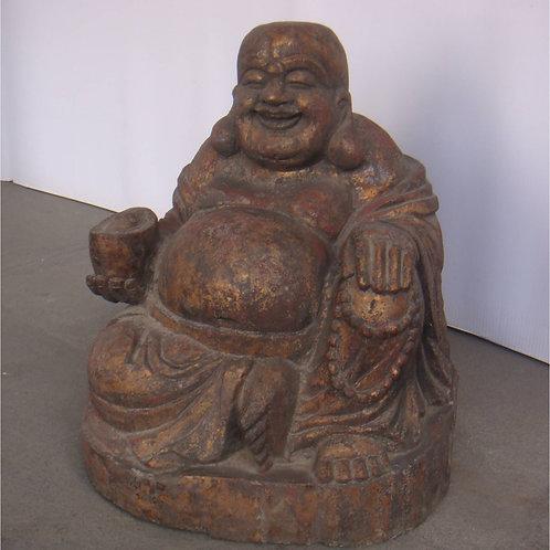 Lucky Buddha wooden statue