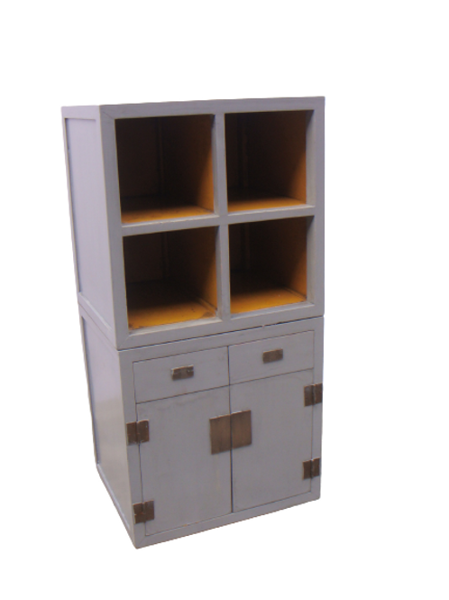 Grey cabinet with shelves