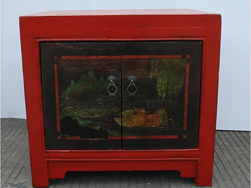 "Tibetan, east Asian style cabinet, hand printed,  ""Love birds on lake scene"""