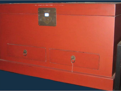 Red painted chest with two drawers
