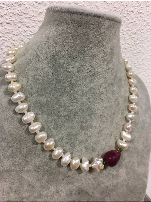 Unique, handmade saltwater natural Pearl and Ruby bead necklace