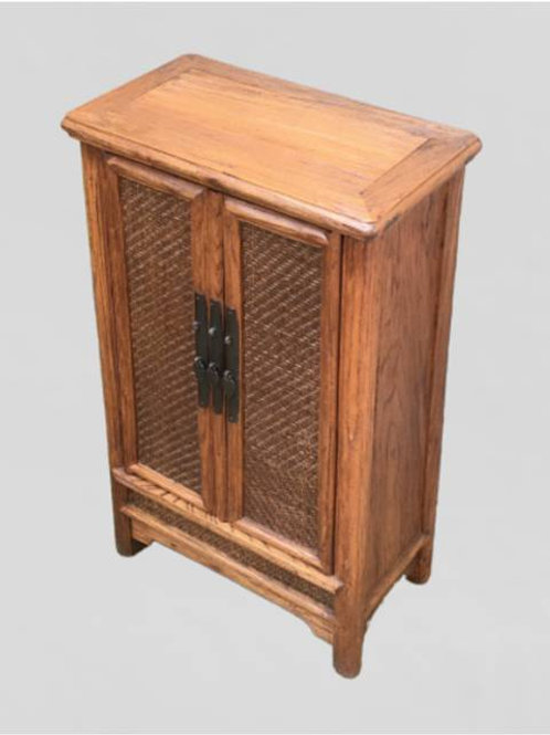 Elm cabinet with cane doors