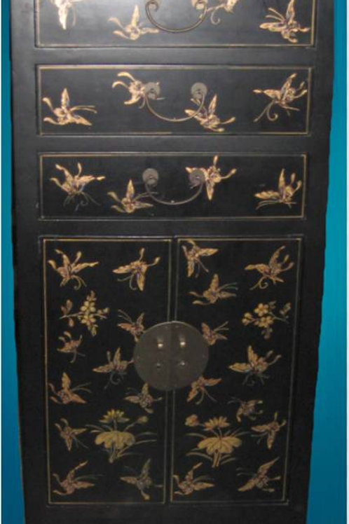 Tall handprinted Cabinet adorned with butterflies, 3 drawers, 2 doors