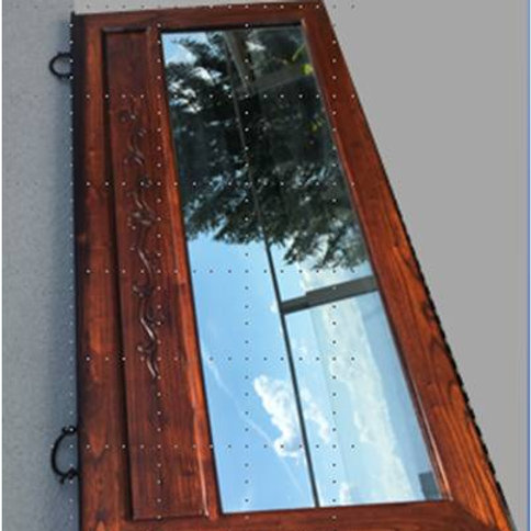Wood carved mirror with two copper hangers