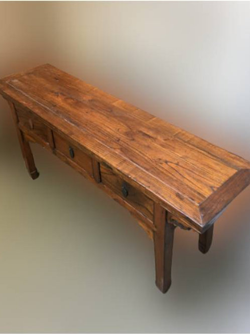 Long, natural elm table with 3 drawers