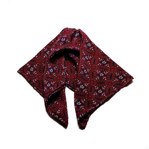 Silk scarf / pocket handkerchief - symmetric crimson and white flower pattern