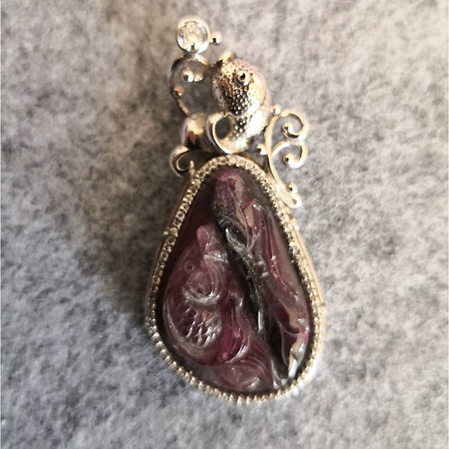 Unique, hand carved natural Tourmaline Fish Pendant, set in sterling Silver