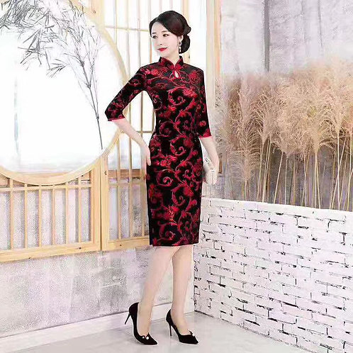 QiPao Dress - Black with red swirl pattern and keyhole neckline