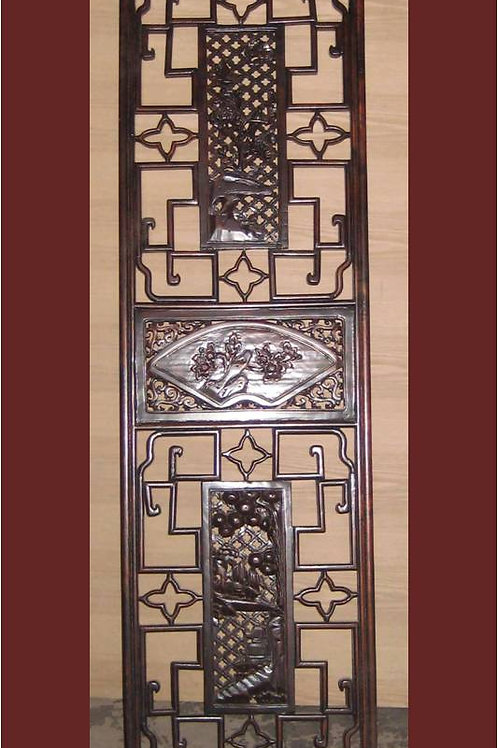 Hand carved and engraved wooden screen