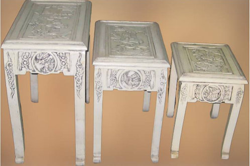 White, carved wood stool (various sizes)