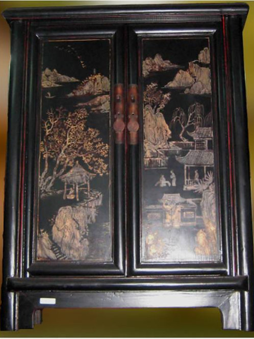 Handprinted Cabinet with relaxing Chinese scene
