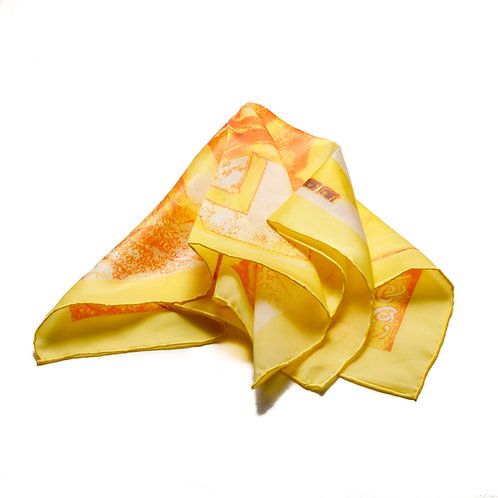 Silk scarf / pocket handkerchief - yellow and orange with squares