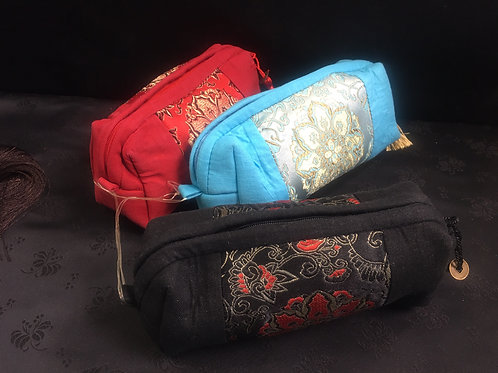 Embroidered cotton Makeup bags - various colours