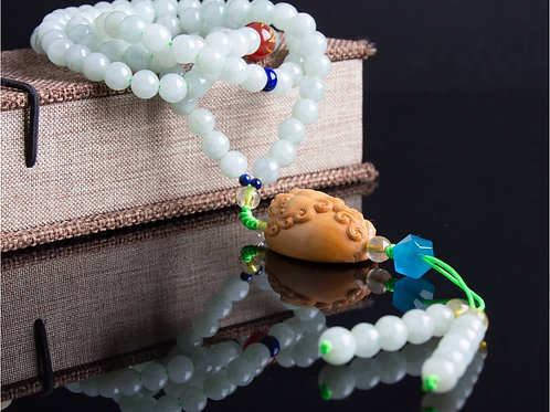Handmade, long necklace of green jade, agate and chalcedony