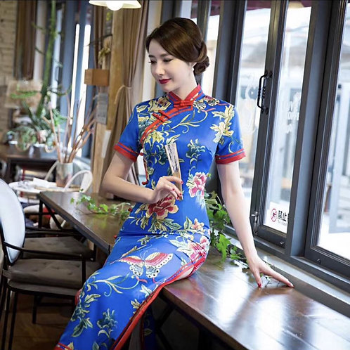 QiPao Dress - Blue with lotus pattern and red braiding