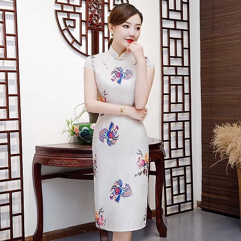 QiPao Dress - White with coloured rooster elements