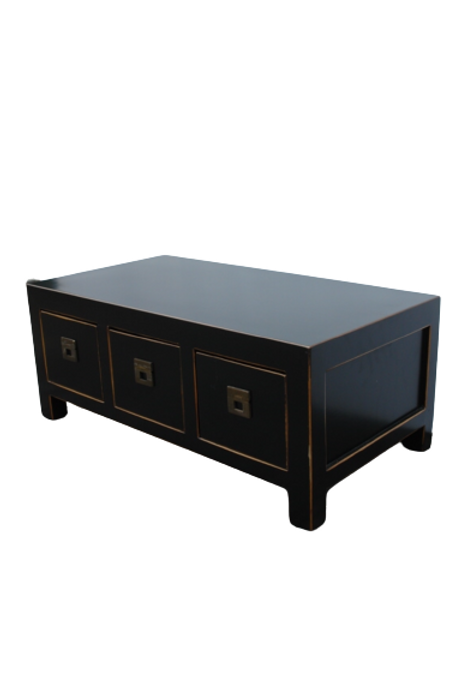 Black painted cabinet with three drawers