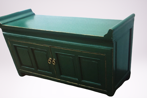 Green seat with storage cupboard